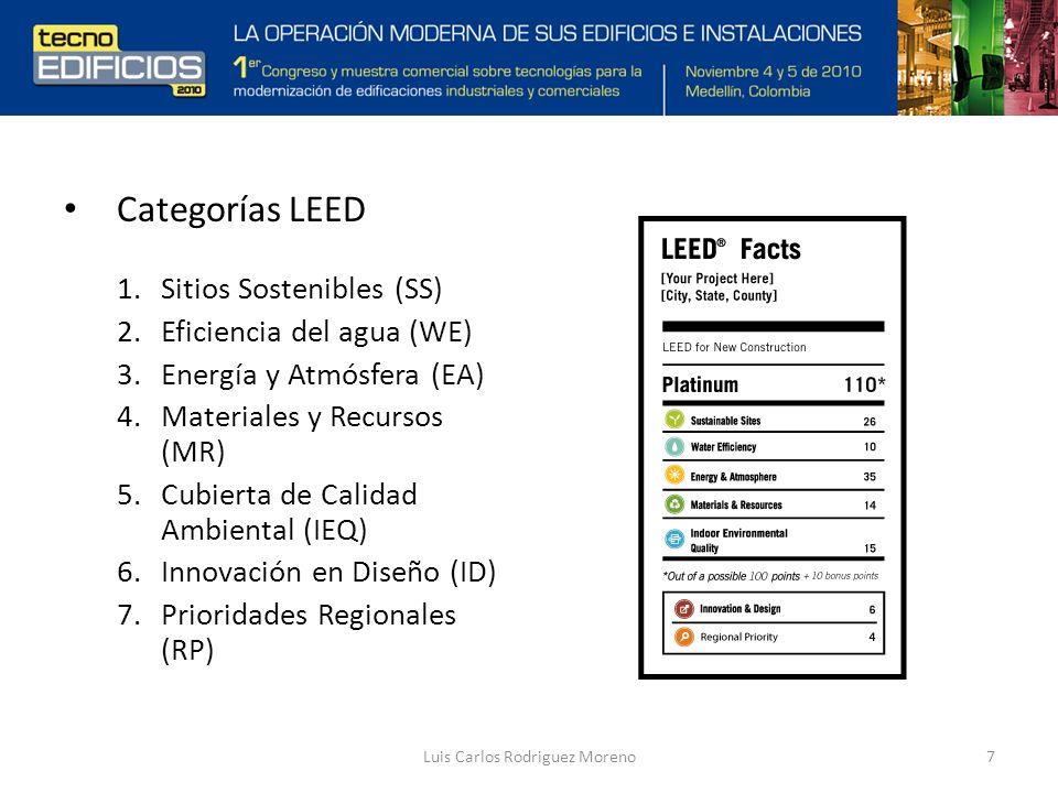 Luis Carlos Rodriguez Moreno7 Categorías LEED 1.Sitios Sostenibles (SS) 2.Eficiencia del agua (WE) 3.Energía y Atmósfera (EA) 4.Materiales y Recursos (MR) 5.Cubierta de Calidad Ambiental (IEQ) 6.Innovación en Diseño (ID) 7.Prioridades Regionales (RP)