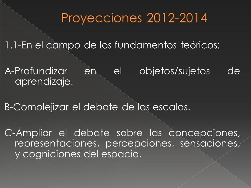 1.1-En el campo de los fundamentos teóricos: A-Profundizar en el objetos/sujetos de aprendizaje. B-Complejizar el debate de las escalas. C-Ampliar el