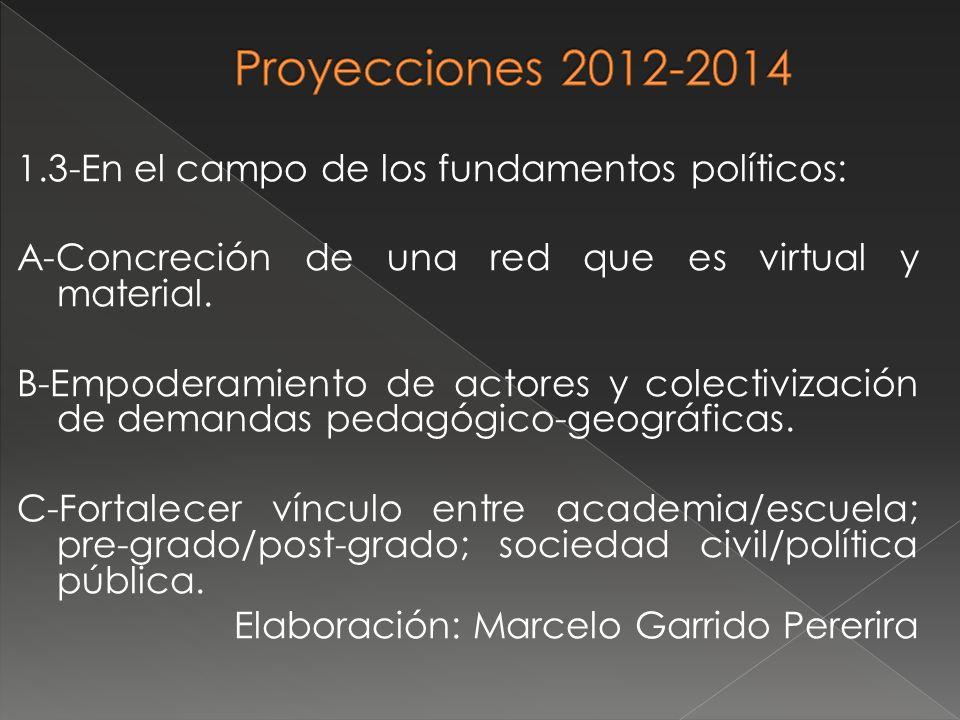 1.3-En el campo de los fundamentos políticos: A-Concreción de una red que es virtual y material. B-Empoderamiento de actores y colectivización de dema