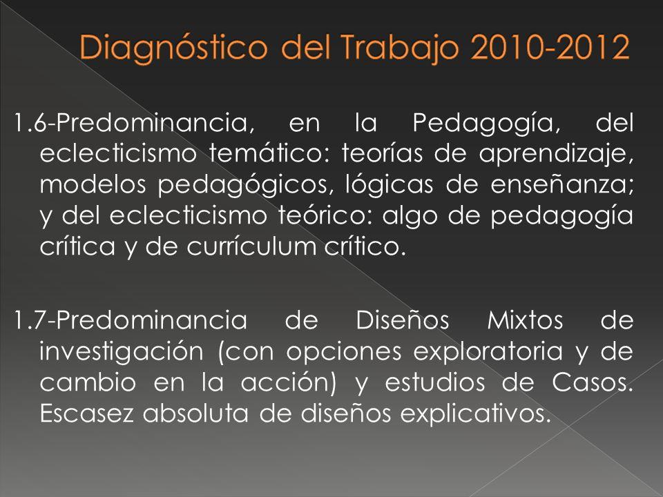 1.6-Predominancia, en la Pedagogía, del eclecticismo temático: teorías de aprendizaje, modelos pedagógicos, lógicas de enseñanza; y del eclecticismo t