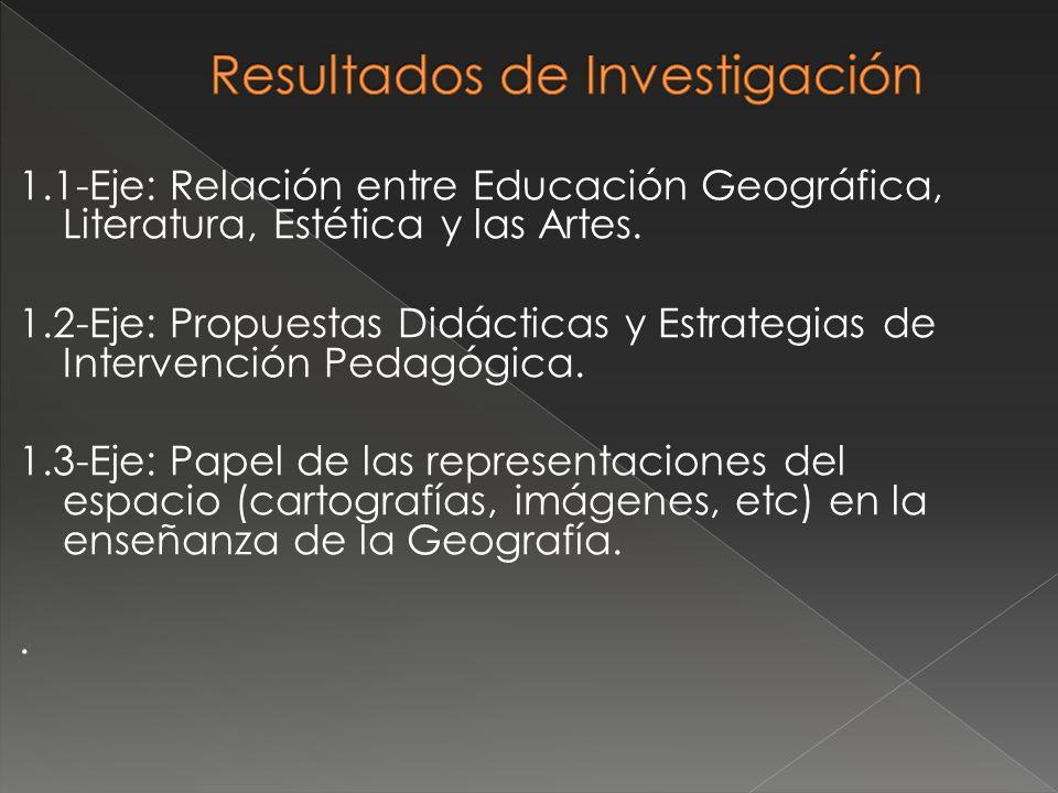 1.1-Eje: Relación entre Educación Geográfica, Literatura, Estética y las Artes. 1.2-Eje: Propuestas Didácticas y Estrategias de Intervención Pedagógic