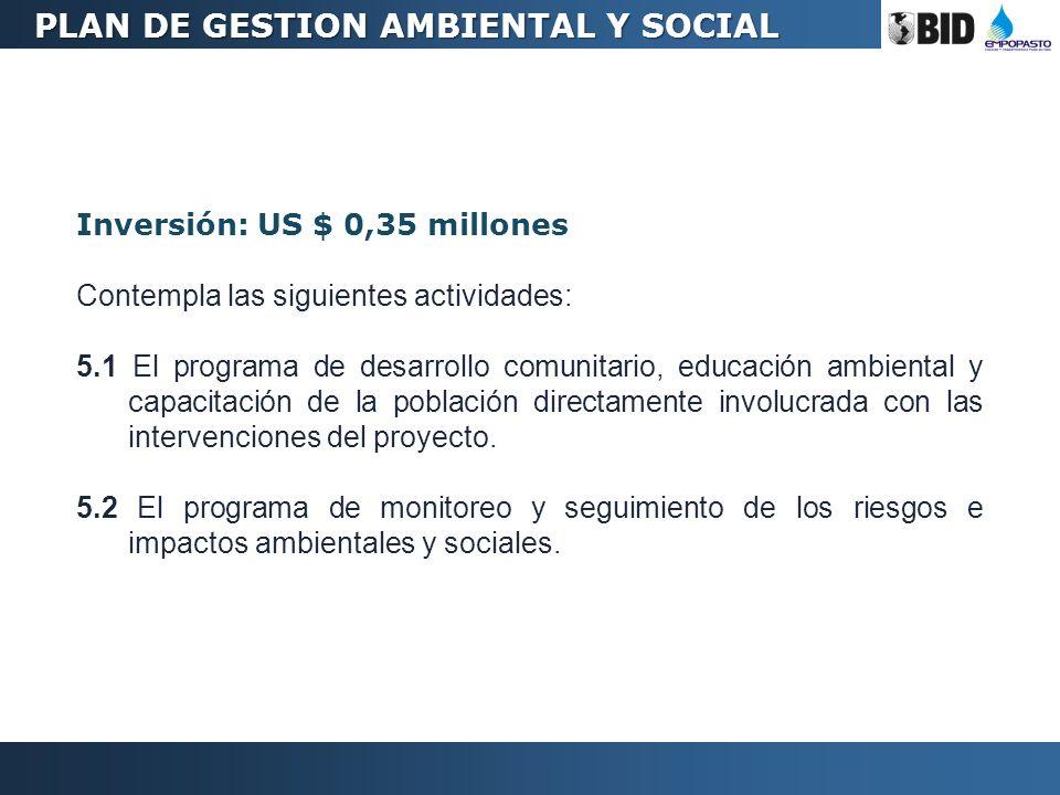 Inversión: US $ 0,35 millones Contempla las siguientes actividades: 5.1 El programa de desarrollo comunitario, educación ambiental y capacitación de l
