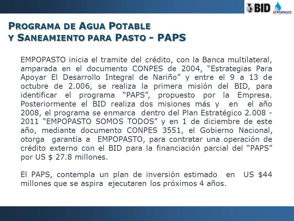 EMPOPASTO inicia el tramite del crédito, con la Banca multilateral, amparada en el documento CONPES de 2004, Estrategias Para Apoyar El Desarrollo Int