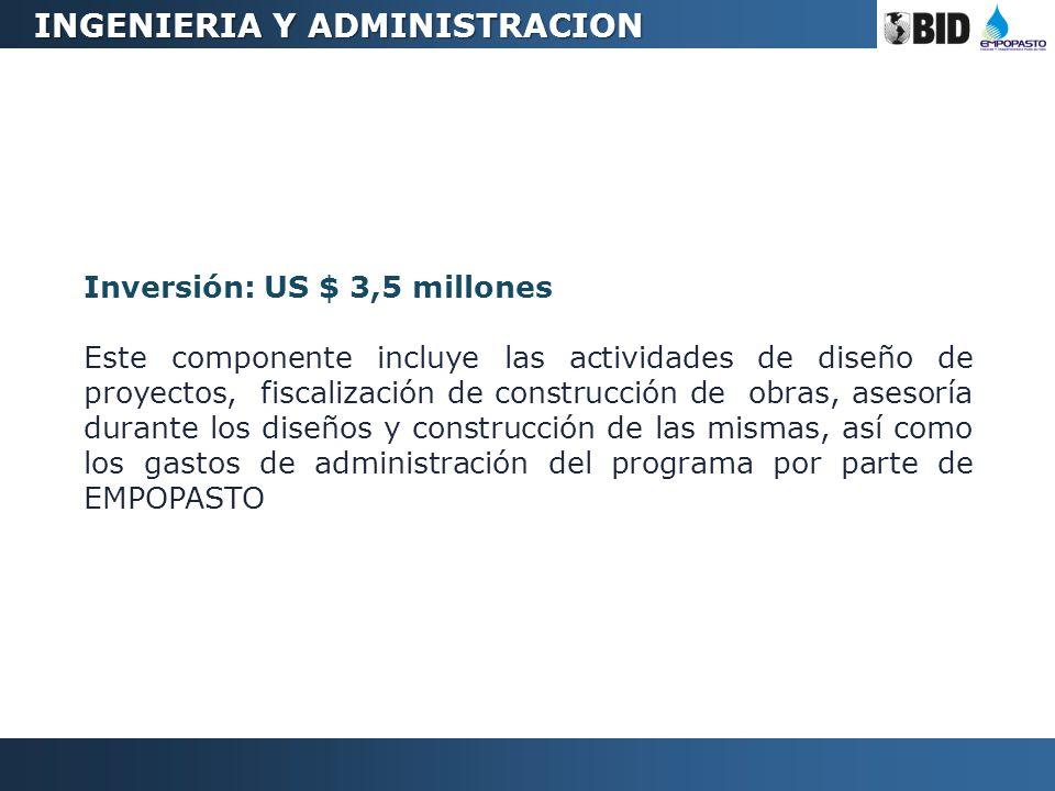 Inversión: US $ 3,5 millones Este componente incluye las actividades de diseño de proyectos, fiscalización de construcción de obras, asesoría durante