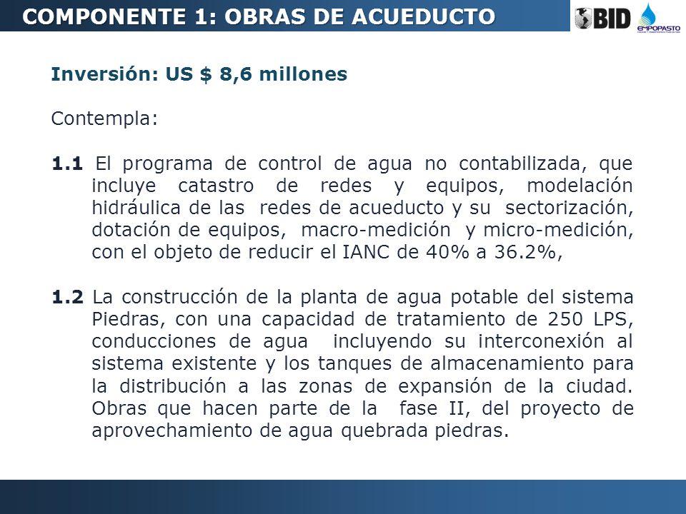 Inversión: US $ 8,6 millones Contempla: 1.1 El programa de control de agua no contabilizada, que incluye catastro de redes y equipos, modelación hidrá