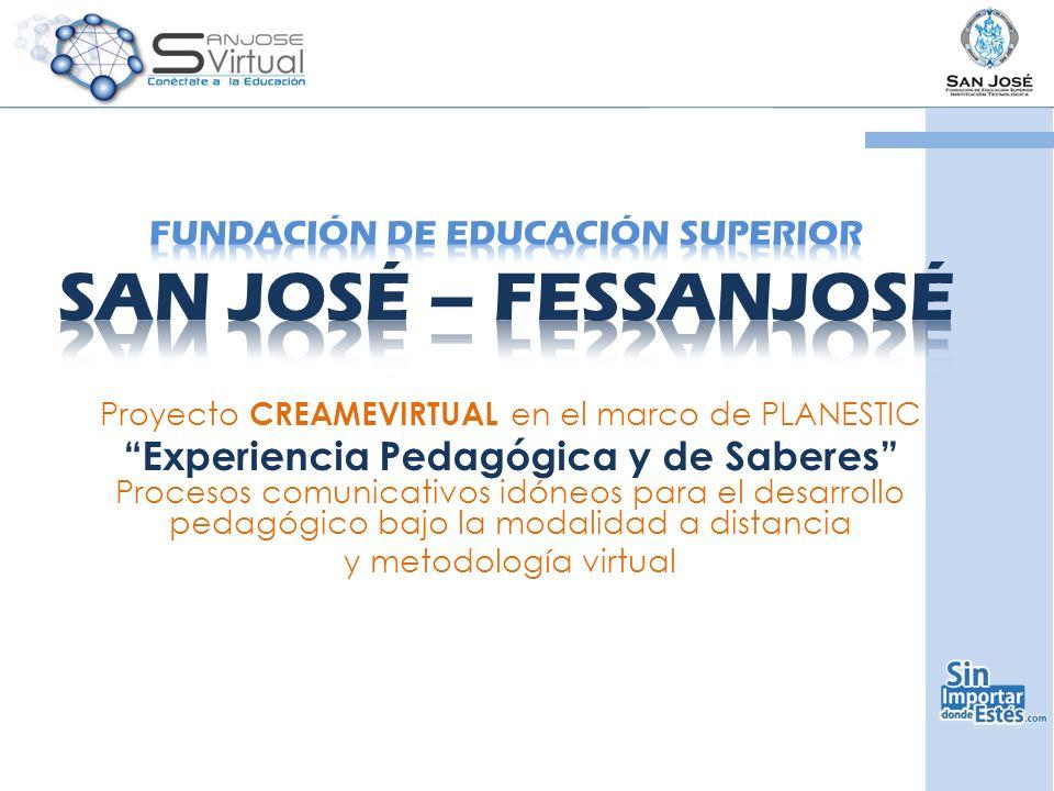 Proyecto CREAMEVIRTUAL en el marco de PLANESTIC Experiencia Pedagógica y de Saberes Procesos comunicativos idóneos para el desarrollo pedagógico bajo la modalidad a distancia y metodología virtual