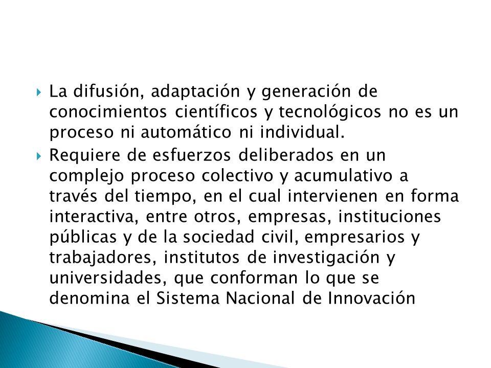 La difusión, adaptación y generación de conocimientos científicos y tecnológicos no es un proceso ni automático ni individual.