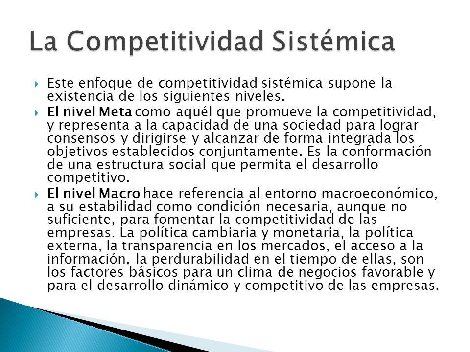 Este enfoque de competitividad sistémica supone la existencia de los siguientes niveles.
