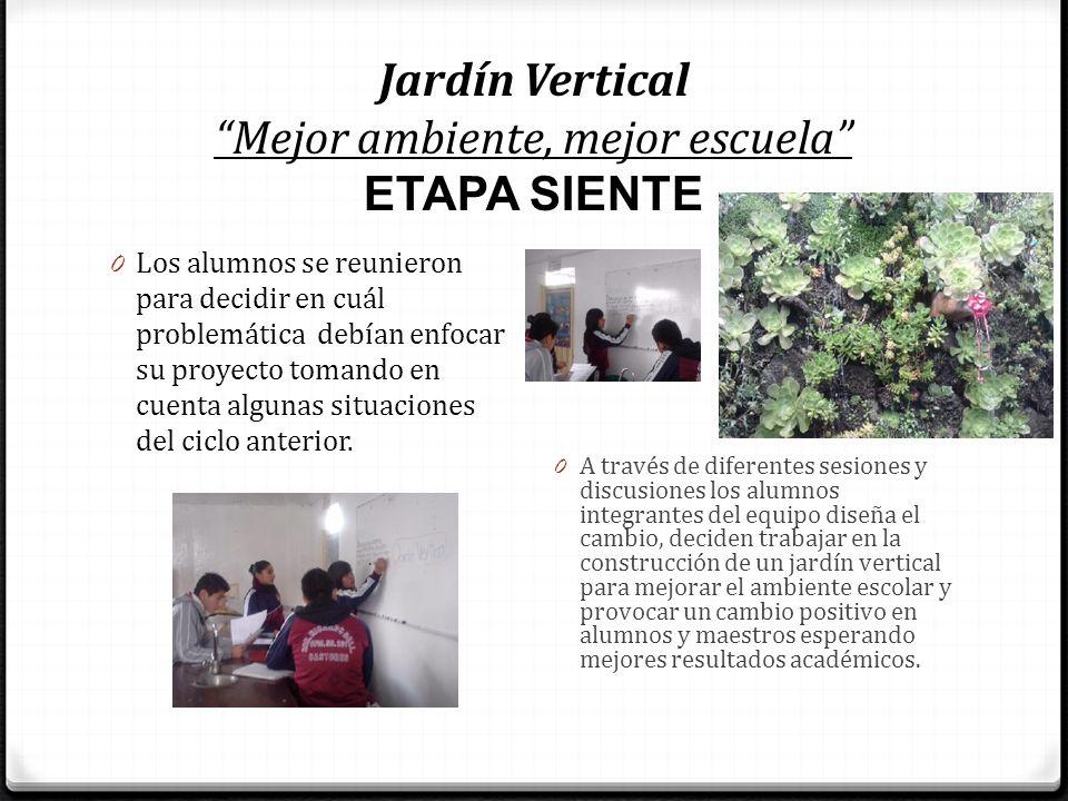 Jardín Vertical Mejor ambiente, mejor escuela ETAPA SIENTE 0 Los alumnos se reunieron para decidir en cuál problemática debían enfocar su proyecto tom