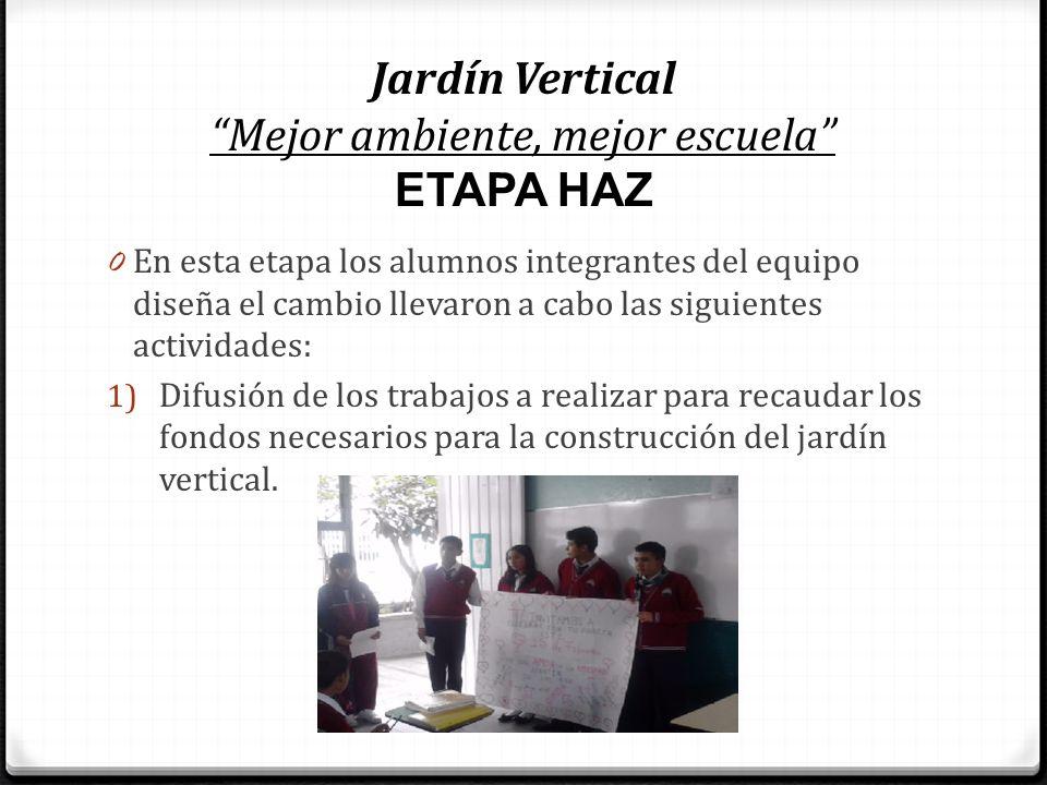 Jardín Vertical Mejor ambiente, mejor escuela ETAPA HAZ 0 En esta etapa los alumnos integrantes del equipo diseña el cambio llevaron a cabo las siguie
