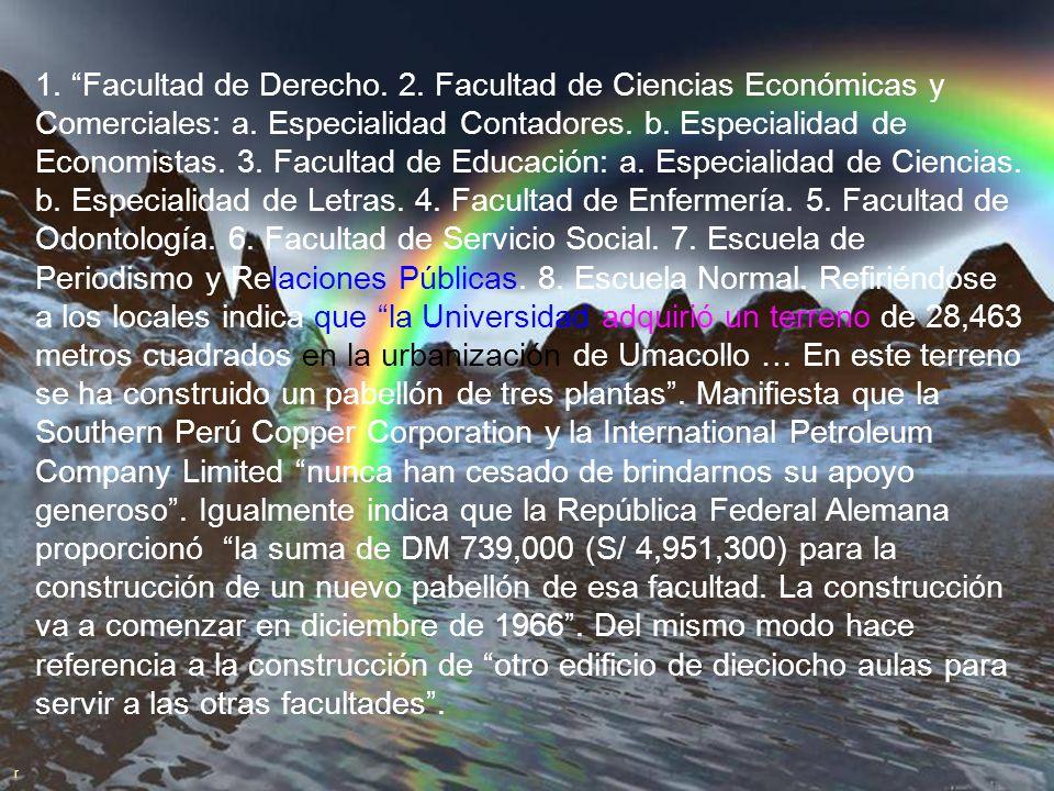DE 1966 A 1970 a. En el Memorandum del 8 de diciembre de 1966 dirigido a nuestros benefactores y amigos de la Universidad manifiesta que el espíritu q