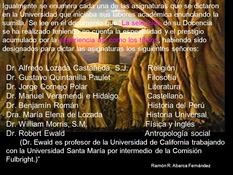 DE 1961 A 1965 a. El Informe del Rectorado de la Universidad Santa María acerca de su organización y desarrollo durante el primer año de sus labores a
