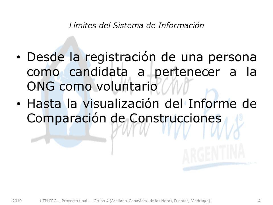 Límites del Sistema de Información Desde la registración de una persona como candidata a pertenecer a la ONG como voluntario Hasta la visualización del Informe de Comparación de Construcciones 2010UTN-FRC...