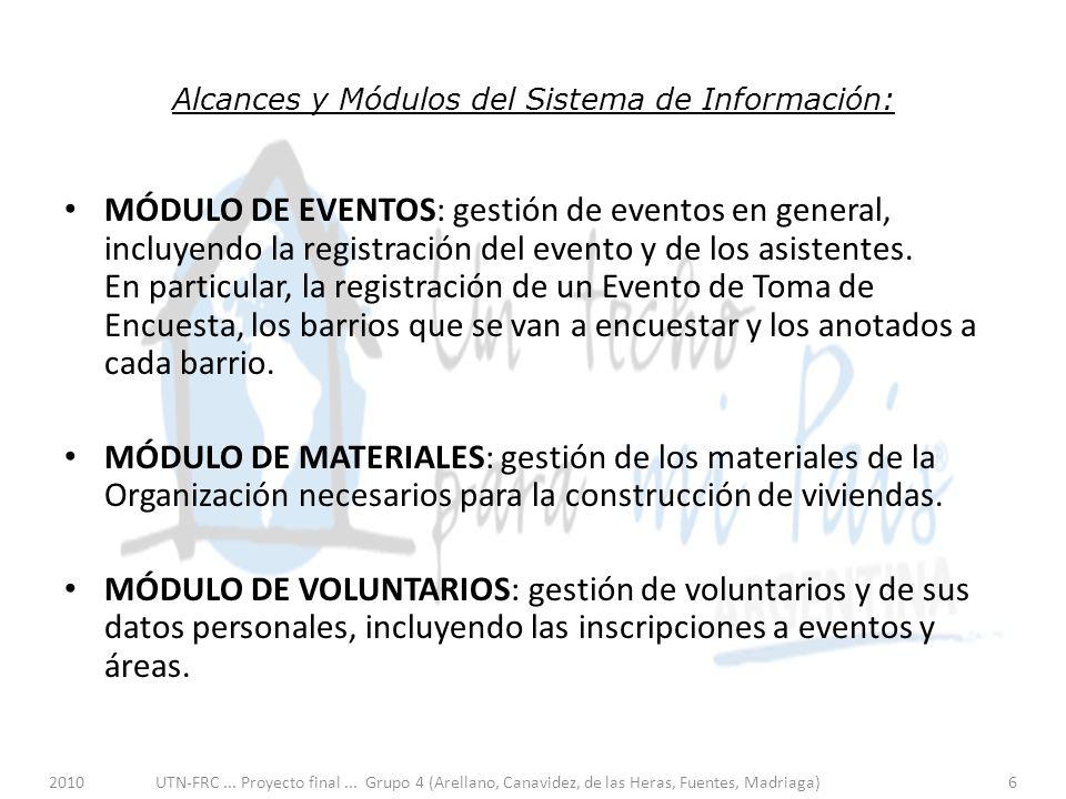 Alcances y Módulos del Sistema de Información: MÓDULO DE EVENTOS: gestión de eventos en general, incluyendo la registración del evento y de los asistentes.
