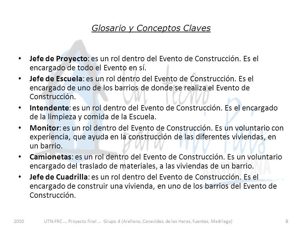 2010UTN-FRC... Proyecto final... Grupo 4 (Arellano, Canavidez, de las Heras, Fuentes, Madriaga)8 Glosario y Conceptos Claves Jefe de Proyecto: es un r