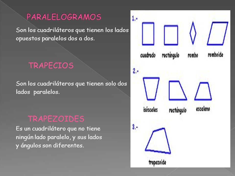 Son los cuadriláteros que tienen los lados opuestos paralelos dos a dos. TRAPECIOS Son los cuadriláteros que tienen solo dos lados paralelos. TRAPEZOI