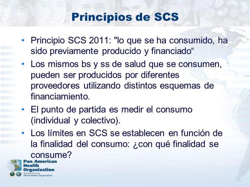 Principios de SCS Principio SCS 2011: lo que se ha consumido, ha sido previamente producido y financiado Los mismos bs y ss de salud que se consumen, pueden ser producidos por diferentes proveedores utilizando distintos esquemas de financiamiento.