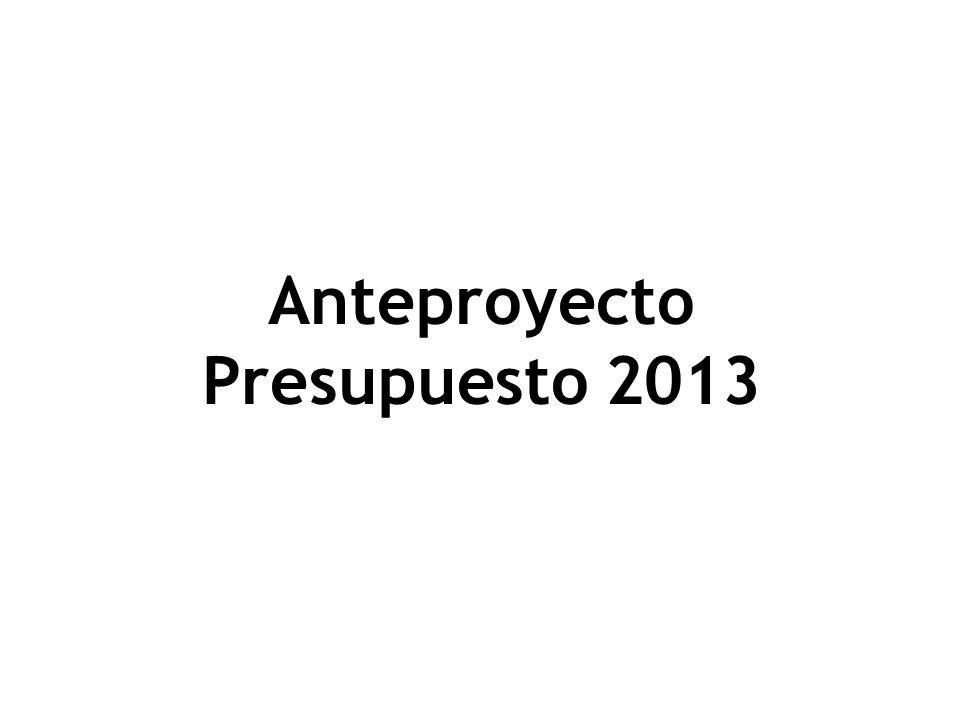 Anteproyecto Presupuesto 2013