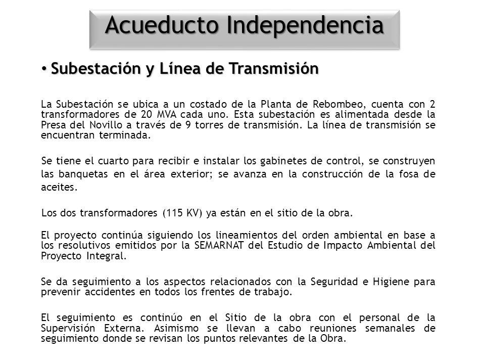 Subestación y Línea de Transmisión Subestación y Línea de Transmisión La Subestación se ubica a un costado de la Planta de Rebombeo, cuenta con 2 tran