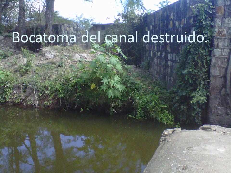 Bocatoma del canal destruido.