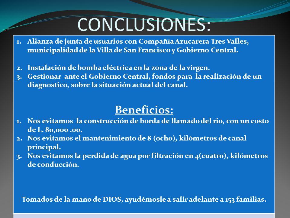 CONCLUSIONES: 1.Alianza de junta de usuarios con Compañía Azucarera Tres Valles, municipalidad de la Villa de San Francisco y Gobierno Central. 2.Inst