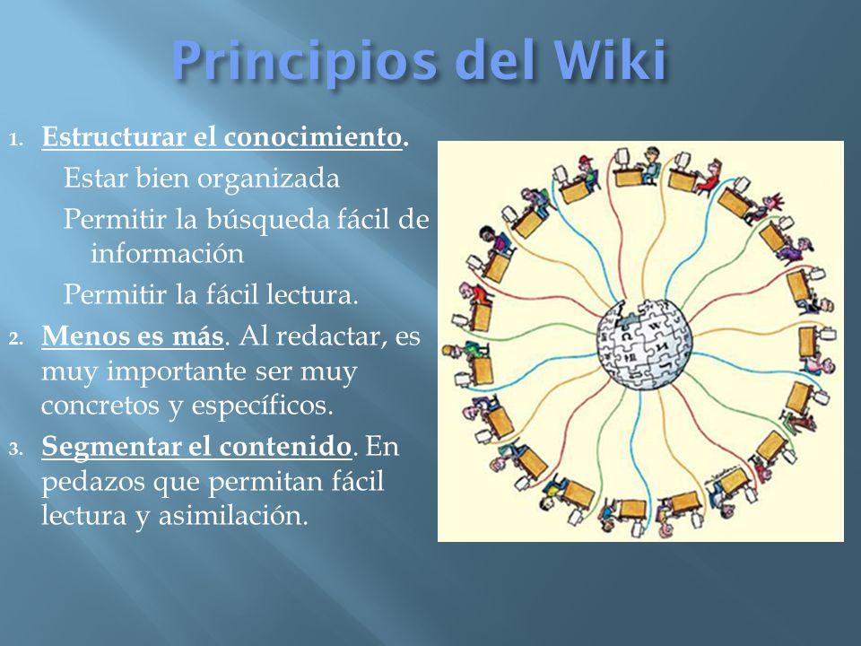 Principios del Wiki 1. Estructurar el conocimiento.