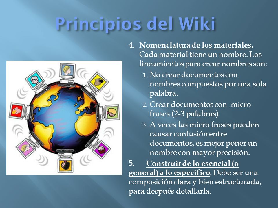 Principios del Wiki 4. Nomenclatura de los materiales.
