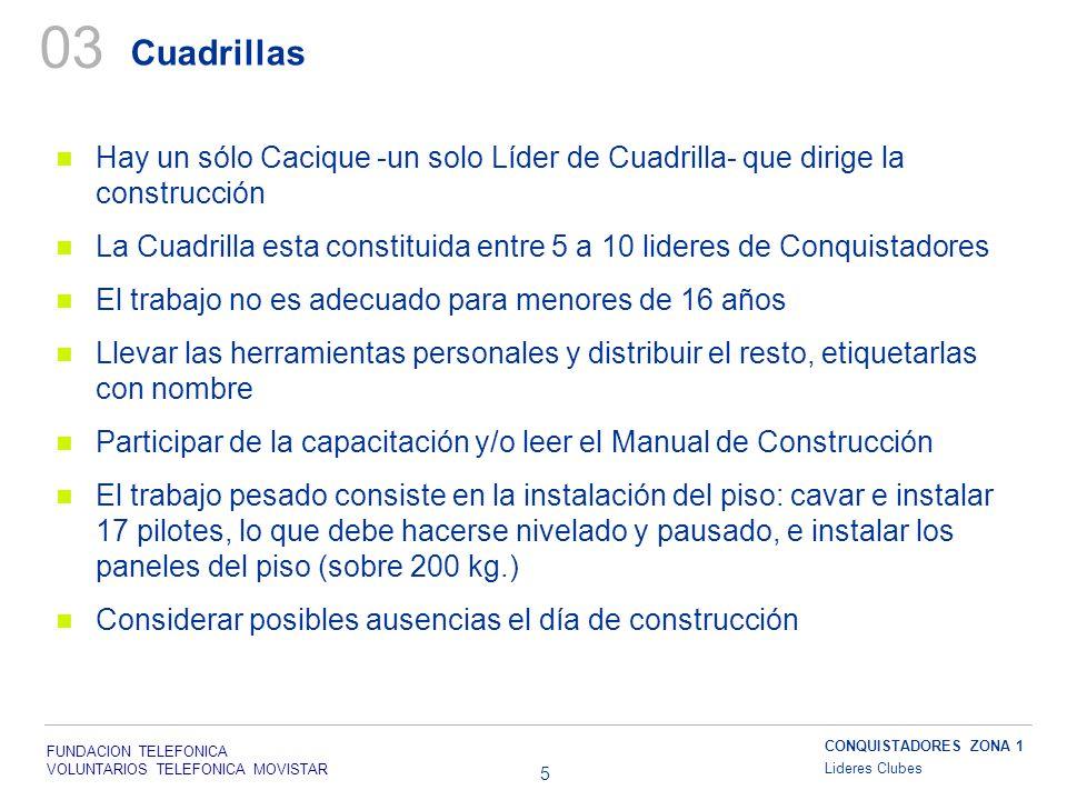 FUNDACION TELEFONICA VOLUNTARIOS TELEFONICA MOVISTAR 5 Cuadrillas Hay un sólo Cacique -un solo Líder de Cuadrilla- que dirige la construcción La Cuadr