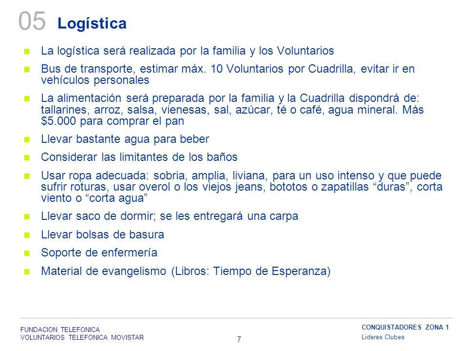 FUNDACION TELEFONICA VOLUNTARIOS TELEFONICA MOVISTAR 7 Logística 05 La logística será realizada por la familia y los Voluntarios Bus de transporte, estimar máx.