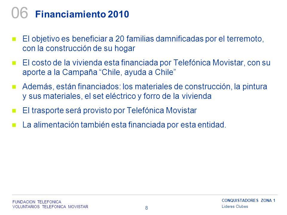 FUNDACION TELEFONICA VOLUNTARIOS TELEFONICA MOVISTAR 8 Financiamiento 2010 06 El objetivo es beneficiar a 20 familias damnificadas por el terremoto, c