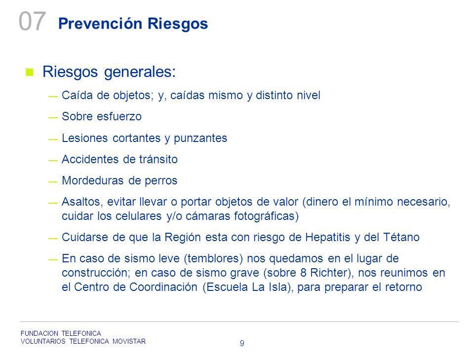 FUNDACION TELEFONICA VOLUNTARIOS TELEFONICA MOVISTAR 9 Prevención Riesgos Riesgos generales: Caída de objetos; y, caídas mismo y distinto nivel Sobre