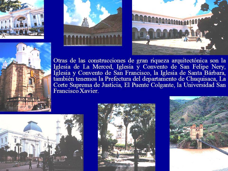 Otras de las construcciones de gran riqueza arquitectónica son la Iglesia de La Merced, Iglesia y Convento de San Felipe Nery, Iglesia y Convento de S
