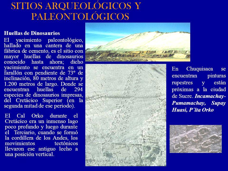 En Chuquisaca se encuentran pinturas rupestres y están próximas a la ciudad de Sucre. Incamachay- Pumamachay, Supay Huasi, P´lta Orko Huellas de Dinos