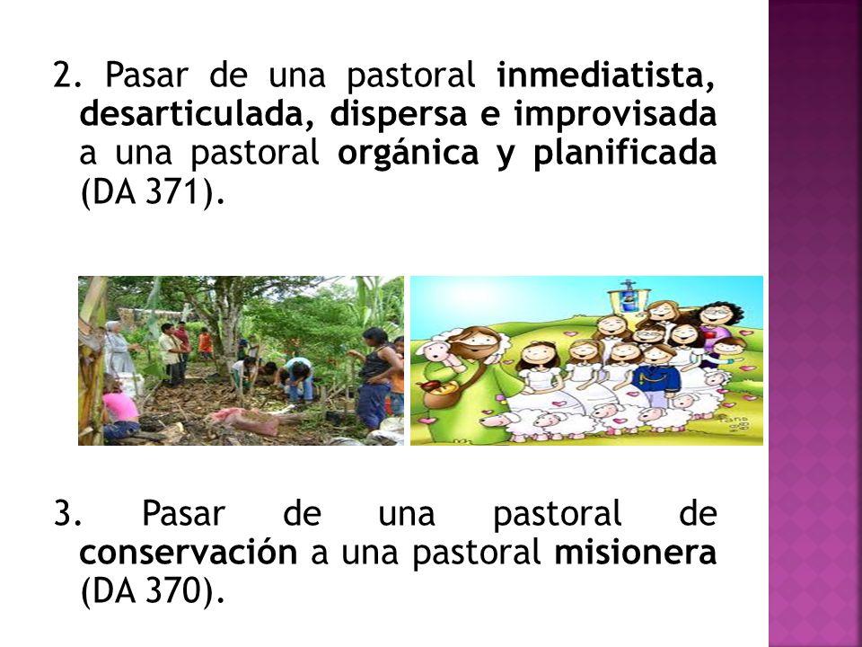 2. Pasar de una pastoral inmediatista, desarticulada, dispersa e improvisada a una pastoral orgánica y planificada (DA 371). 3. Pasar de una pastoral