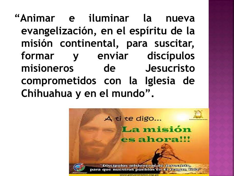 Animar e iluminar la nueva evangelización, en el espíritu de la misión continental, para suscitar, formar y enviar discípulos misioneros de Jesucristo