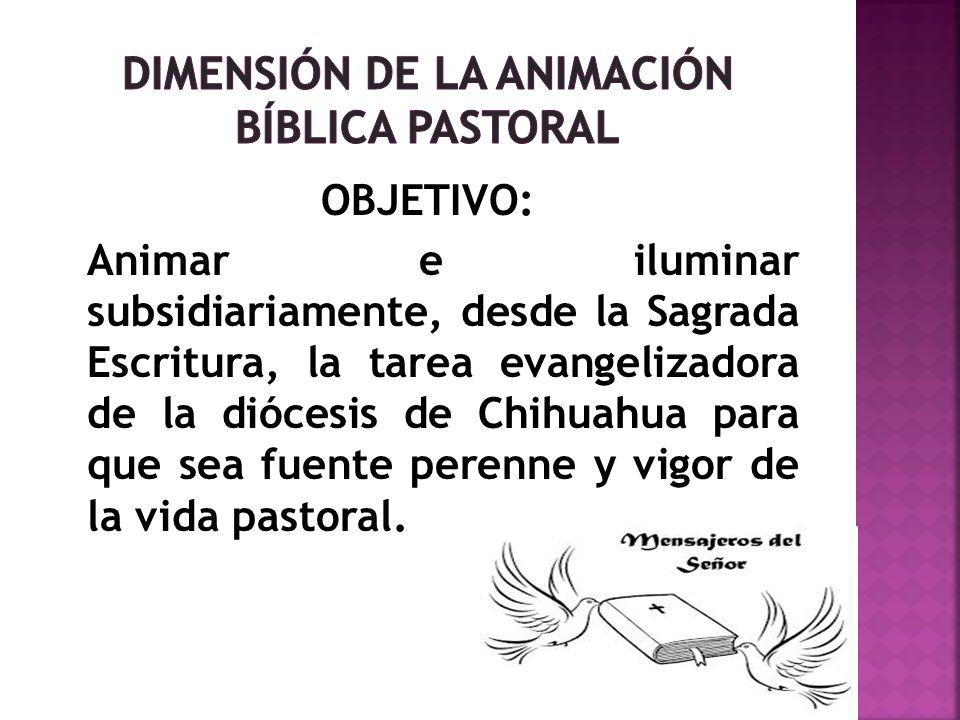 OBJETIVO: Animar e iluminar subsidiariamente, desde la Sagrada Escritura, la tarea evangelizadora de la diócesis de Chihuahua para que sea fuente pere