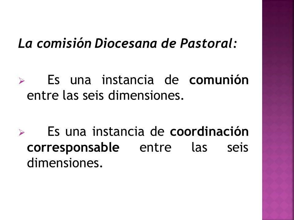La comisión Diocesana de Pastoral: Es una instancia de comunión entre las seis dimensiones. Es una instancia de coordinación corresponsable entre las