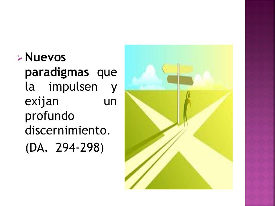 Nuevos paradigmas que la impulsen y exijan un profundo discernimiento. (DA. 294-298)