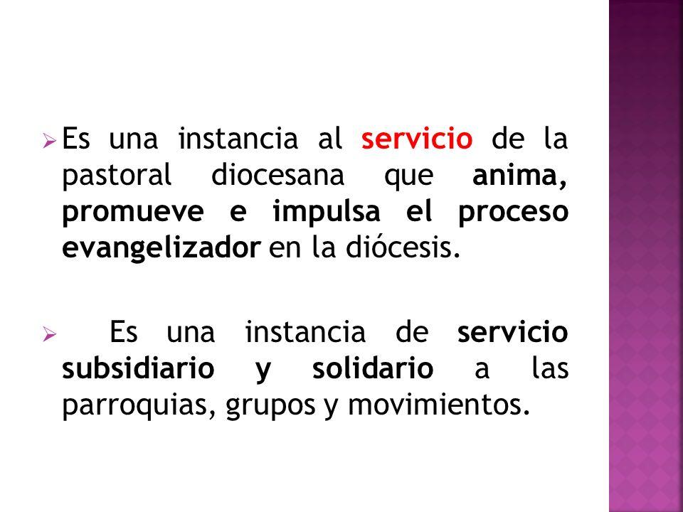 Es una instancia al servicio de la pastoral diocesana que anima, promueve e impulsa el proceso evangelizador en la diócesis. Es una instancia de servi