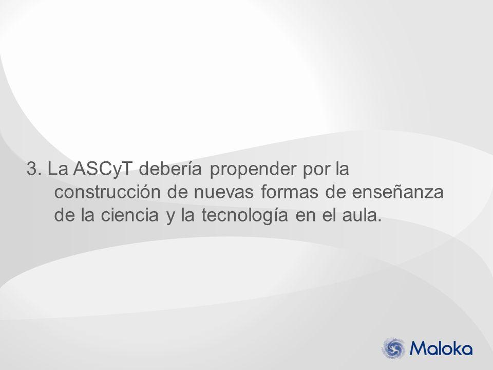 3. La ASCyT debería propender por la construcción de nuevas formas de enseñanza de la ciencia y la tecnología en el aula.