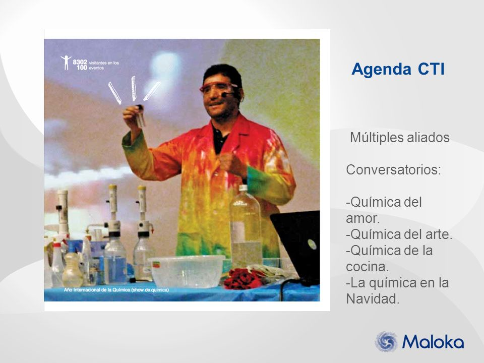 Agenda CTI Múltiples aliados Conversatorios: -Química del amor. -Química del arte. -Química de la cocina. -La química en la Navidad.