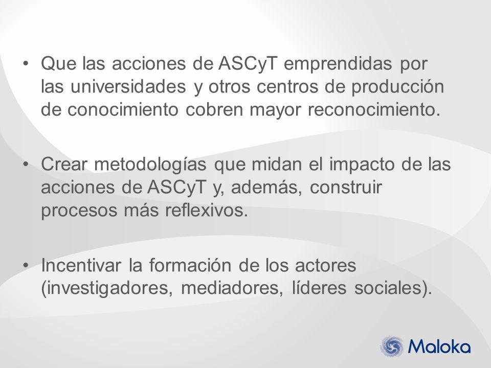 Que las acciones de ASCyT emprendidas por las universidades y otros centros de producción de conocimiento cobren mayor reconocimiento. Crear metodolog