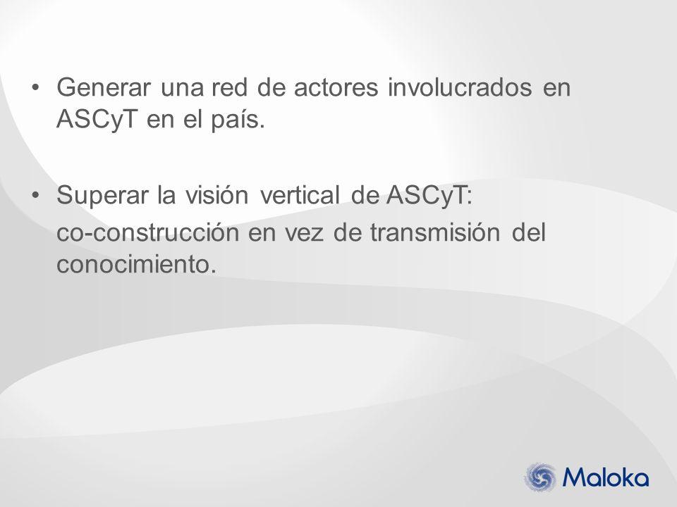 Generar una red de actores involucrados en ASCyT en el país. Superar la visión vertical de ASCyT: co-construcción en vez de transmisión del conocimien
