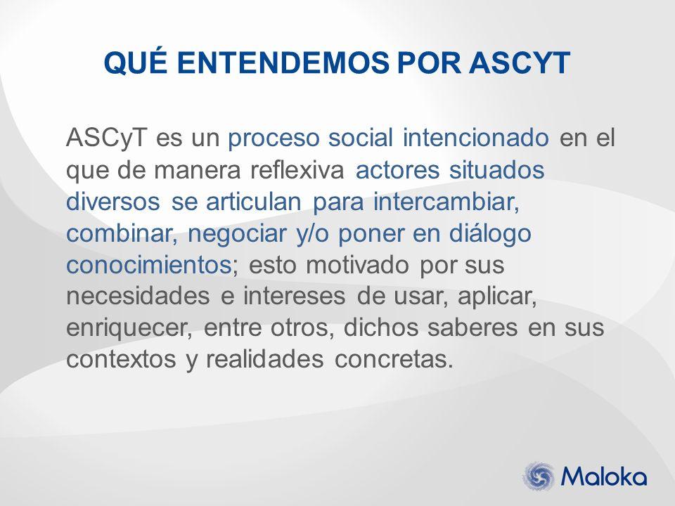 ASCyT es un proceso social intencionado en el que de manera reflexiva actores situados diversos se articulan para intercambiar, combinar, negociar y/o