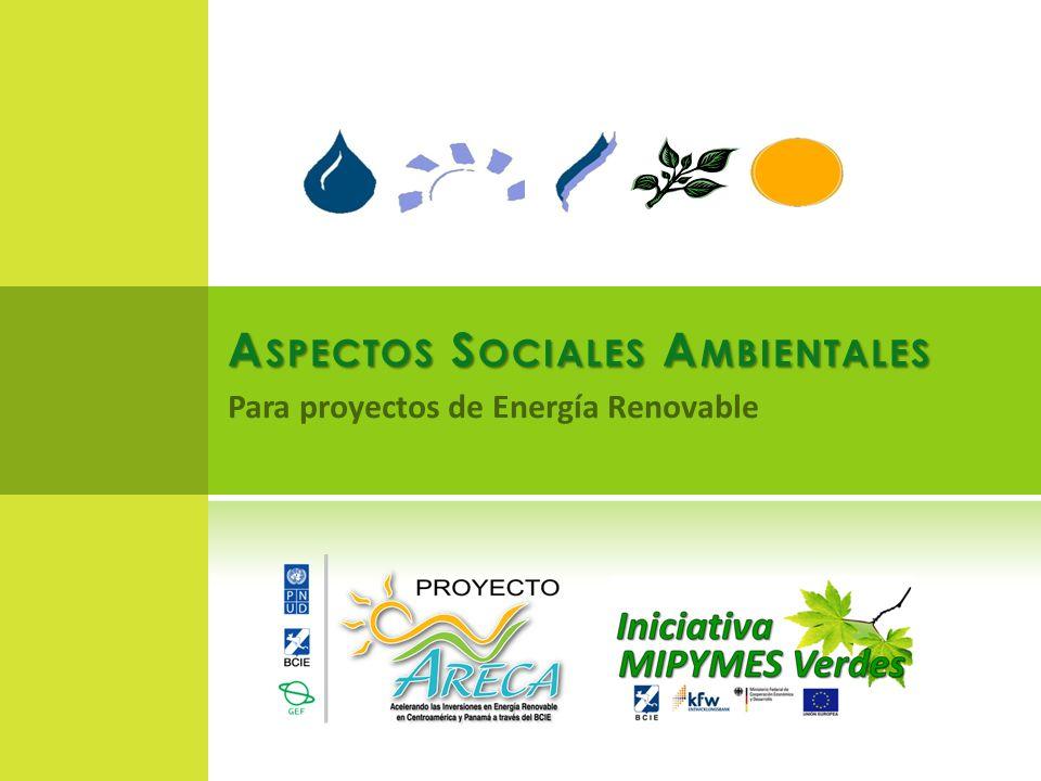 A SPECTOS S OCIALES A MBIENTALES Para proyectos de Energía Renovable