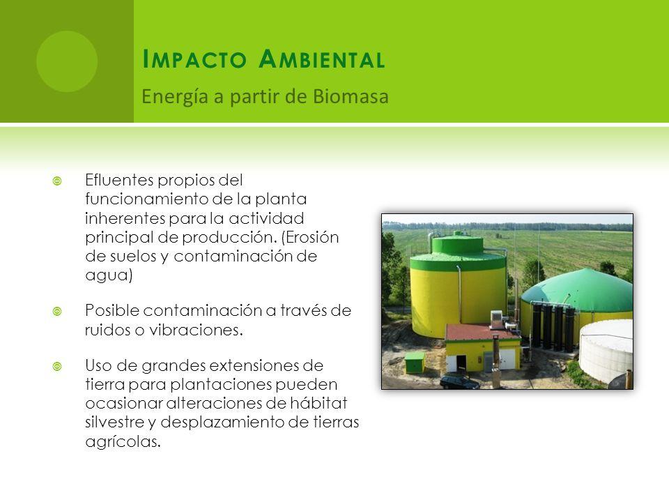 I MPACTO A MBIENTAL Efluentes propios del funcionamiento de la planta inherentes para la actividad principal de producción.