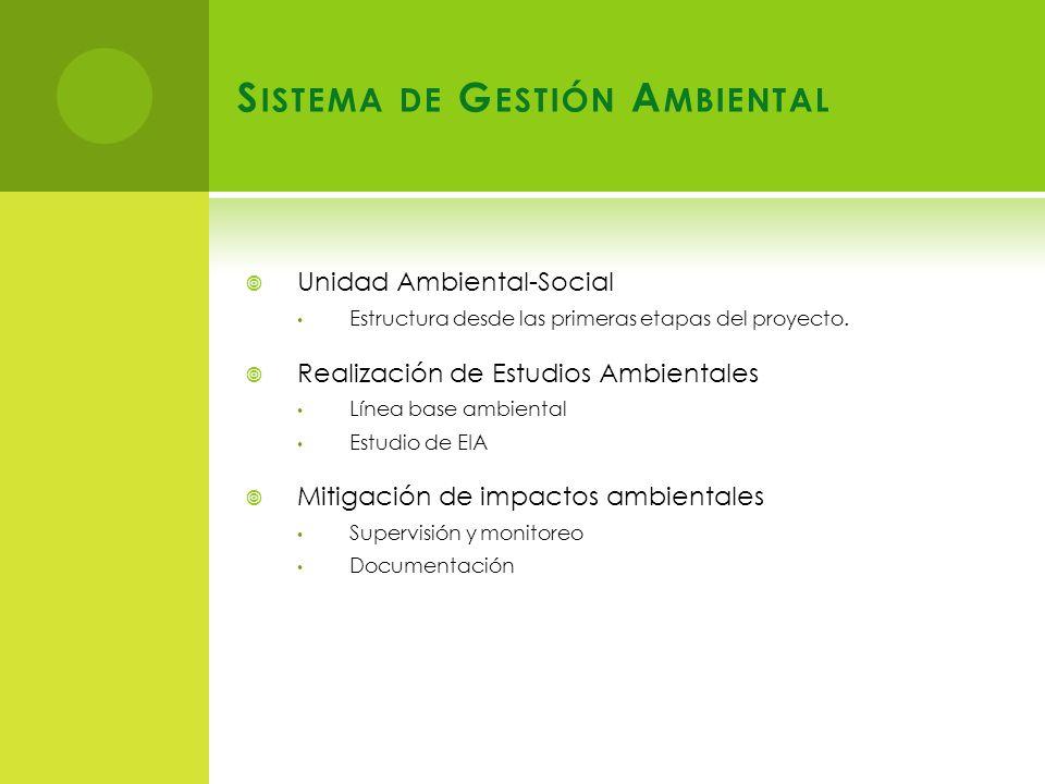 S ISTEMA DE G ESTIÓN A MBIENTAL Unidad Ambiental-Social Estructura desde las primeras etapas del proyecto.