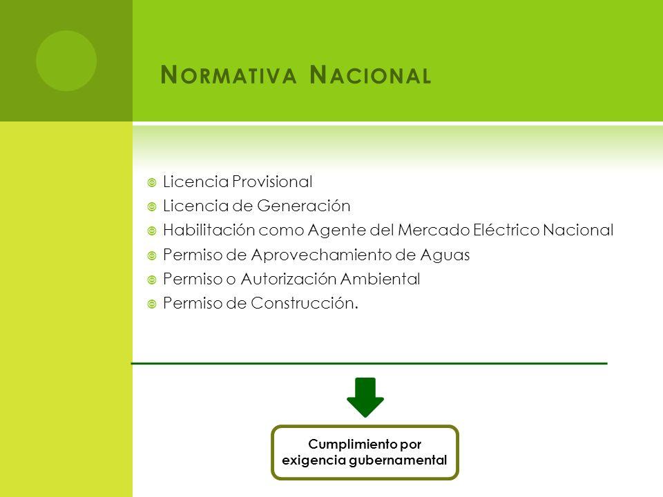 N ORMATIVA N ACIONAL Licencia Provisional Licencia de Generación Habilitación como Agente del Mercado Eléctrico Nacional Permiso de Aprovechamiento de Aguas Permiso o Autorización Ambiental Permiso de Construcción.