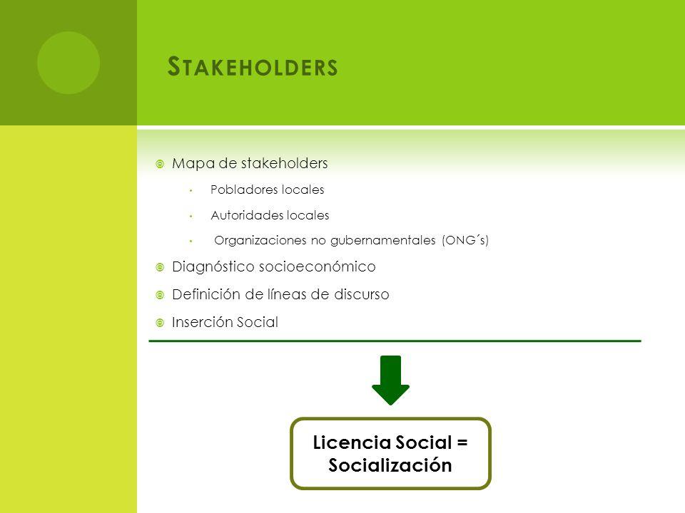 S TAKEHOLDERS Mapa de stakeholders Pobladores locales Autoridades locales Organizaciones no gubernamentales (ONG´s) Diagnóstico socioeconómico Definición de líneas de discurso Inserción Social Licencia Social = Socialización