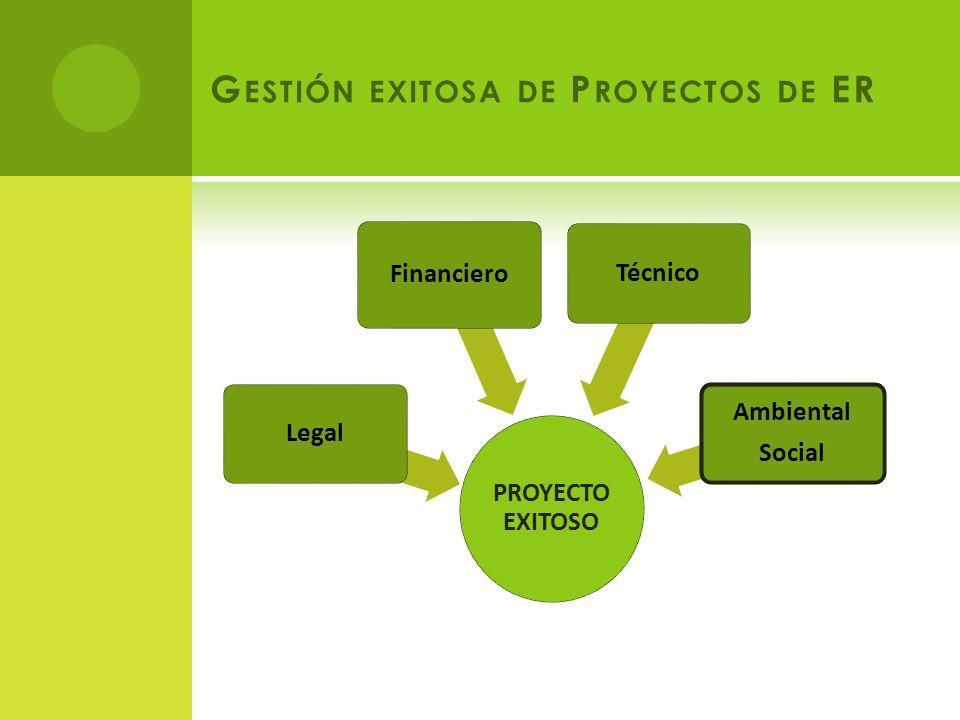 PROYECTO EXITOSO Legal Financiero Técnico Ambiental Social G ESTIÓN EXITOSA DE P ROYECTOS DE ER